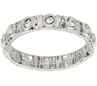 VicenzaSilver Sterling Crystal Open Work Band Ring - J320476
