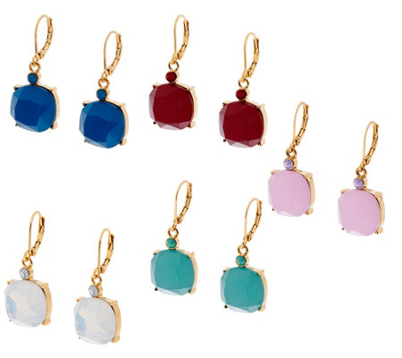 Joan Rivers Set of 5 Simulated Opal Drop Earrings