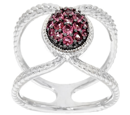 Pave' Exotic Gemstone Sterling Silver Elongated Ring