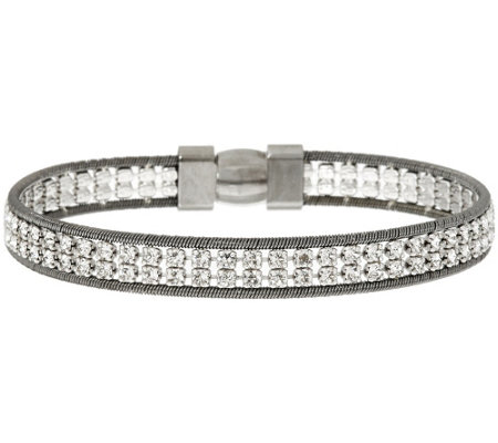 """As Is"" Italian Silver Sterling Double Row Crystal Tennis Bracelet"