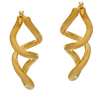 "Oro Nuovo 1-1/2"" Polished Double Twist Hoop Earrings, 14K - J325876"