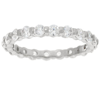 Diamonique 1.60 cttw Eternity Band Ring, Sterling or 14K Clad - J326076