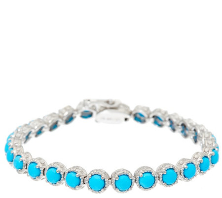 "Sleeping Beauty Turquoise 6-3/4"" Sterling Diamond Cut Tennis Bracelet"
