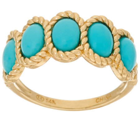 """As Is"" Sleeping Beauty Turquoise Rope Design Band Ring 14K"