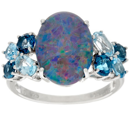 """As Is"" Australian Opal Triplet & Blue Topaz Sterling Ring 1.25 cttw"
