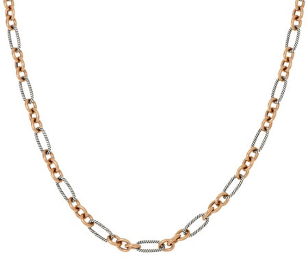 "Carolyn Pollack Sterling Silver & Brass Opulence 24"" Link Necklace"