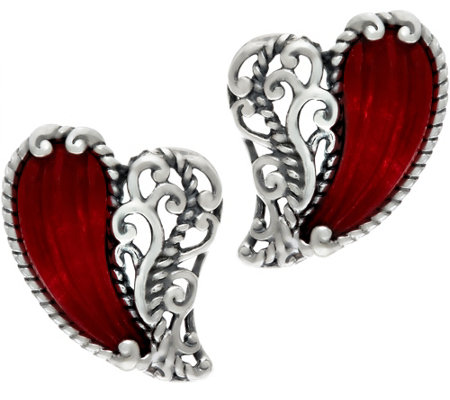 Carolyn Pollack With Love Sterling Carved Heart Earrings
