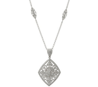 "Ornate Enhancer with 36"" Chain, Sterling, 1/4 cttw, by Affinity - J329376"