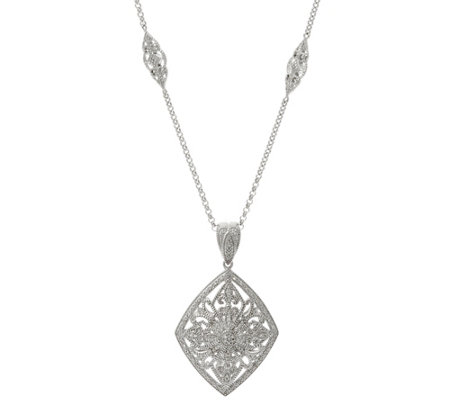 "Ornate Enhancer with 36"" Chain, Sterling, 1/4 cttw, by Affinity"