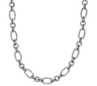 "JAI Sterling 90.0g 22"" Croco Texture Link Necklace - J329476"