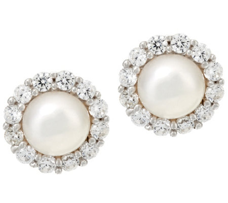 Diamonique and Cultured Pearl Stud Earrings, Sterling