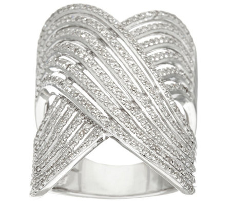 """As Is"" Micro- Pave' Multi Row Design Ring, 3/4 cttw by Affinity"