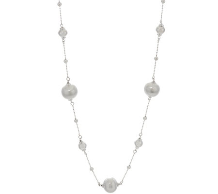 "Vicenza Silver Sterling 32"" Satin Bead Station Necklace, 16.0g"
