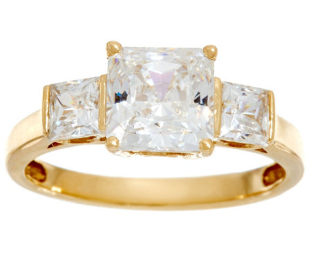 Diamonique Three Stone Princess Cut Ring, 14K Gold