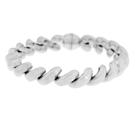"""As Is"" Italian Silver 7-1/4"" Diamond Cut San Marco Bracelet"