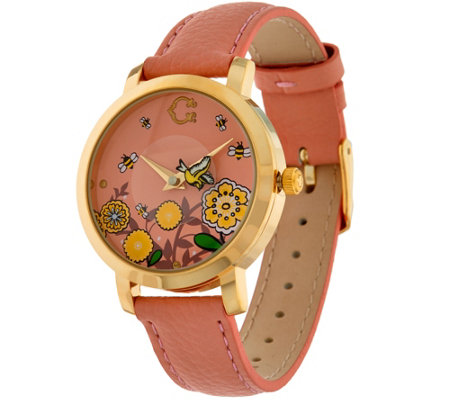C. Wonder Rotating Birds & Bees Dial Leather Strap Watch