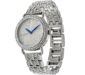 Stainless Steel Pave' Crystal Bracelet Watch - J334176