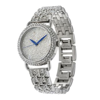 Stainless Steel Pave' Crystal Bracelet Watch