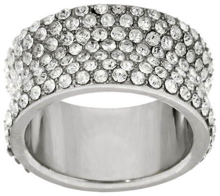Stainless Steel Concave Pave Crystal Eternity Band Ring