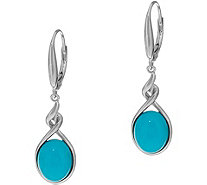 Oval Sleeping Beauty Turquoise Sterling Silver Drop Earrings - J335676