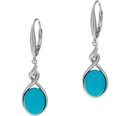Oval Sleeping Beauty Turquoise Sterling Silver Drop Earrings