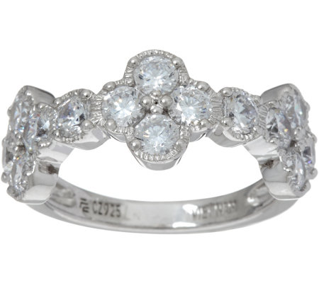 Diamonique Floral Half Band Ring, Sterling
