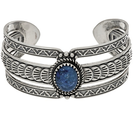 Sterling Silver Oval Shape Denim Lapis Bold Cuff by American West