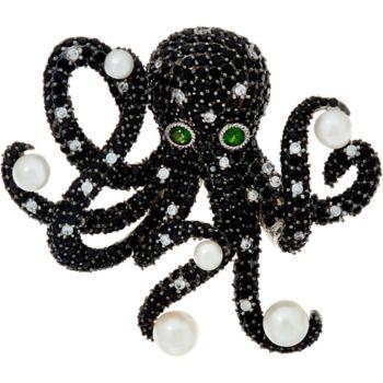 Judith Ripka Sterling Silver Gemstone Octavia Octopus Pin, 8.00 cttw