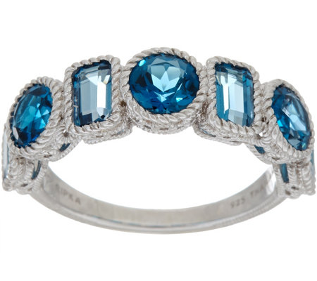 Judith Ripka Sterling Seven Stone 2.60 cttw London Blue Topaz Ring