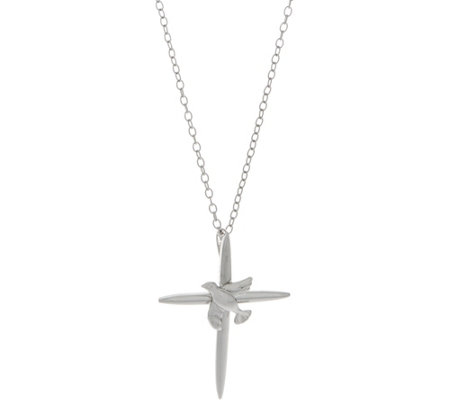 "Sterling Polished Dove Cross Pendant with 18"" Chain by Silver Style"