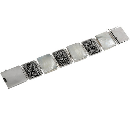 EXEX by Claudia Agudelo Sterling Silver Mother of Pearl Floral Bracelet