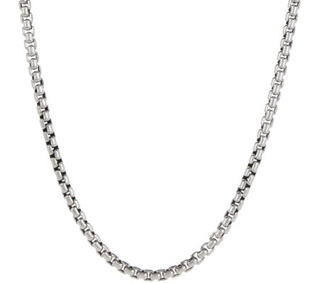 JAI Sterling Silver Round Box Chain Necklace, 47.5g