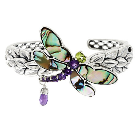 """As Is"" Carolyn Pollack Silver Abalone Doublet & Gemstone Dragonfly Cuff"