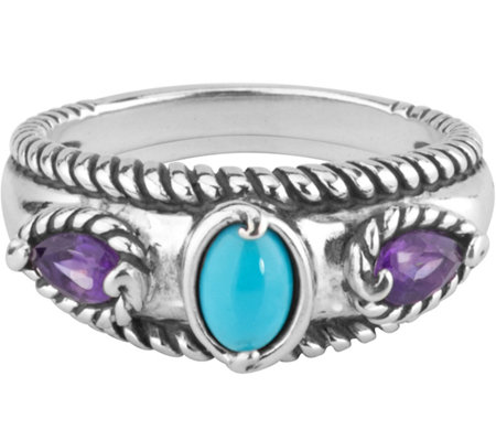 Carolyn Pollack Amethyst & Sleeping Beauty Turquoise Ring