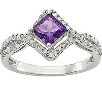 Sterling Square Shaped Gemstone & 1/4 ct Diamond Ring - J378176