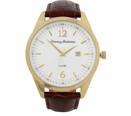 Tommy Bahama Siesta Key Leather Strap Watch, Brown