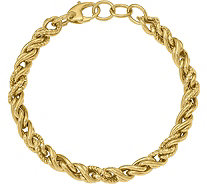 "Italian Gold 8"" Double Twisted Link Bracelet 14K, 7.6g - J381576"