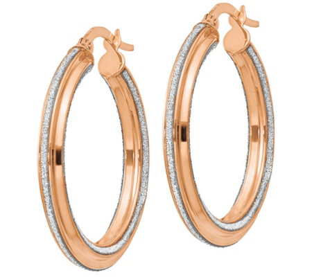 Italian Gold Glimmer Infused Texture Round HoopEarrings 14K