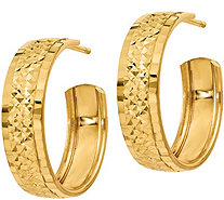 Italian Gold Diamond Cut Hoop Earrings, 14K - J381776