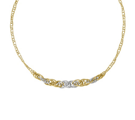 "Italian Gold 18"" Graduated Oval Link Necklace 14K,7.3g"