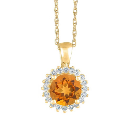 14K Gold Round Gemstone Halo Pendant w/ Chain