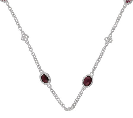 Judith Ripka Sterling 4.00 cttw Rhodolite Diamonique Necklace