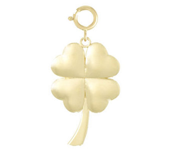 High Polished Four Leaf Clover Charm, 14k - J107177