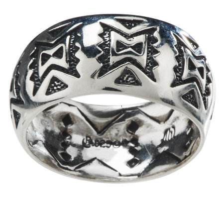 American West Sterling Etched Band Ring