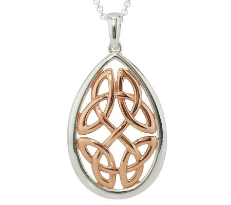 Solvar Sterling Silver & 18K Rose Gold Plated Celtic Knot Pendant