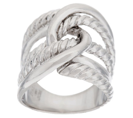 """As Is"" VicenzaSilver Sterling Inter- locking Cable Textured Ring"