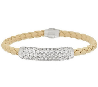 Diamonique Sterling Pave' Station Leather Bracelet - J284977