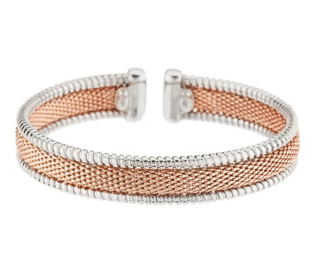 VicenzaSilver Sterling Two-tone Woven Mesh Cuff