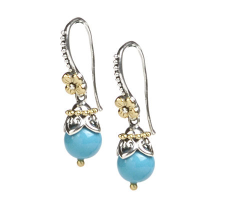 Barbara Bixby Sterling & 18K Turquoise Bead Dangle Earrings