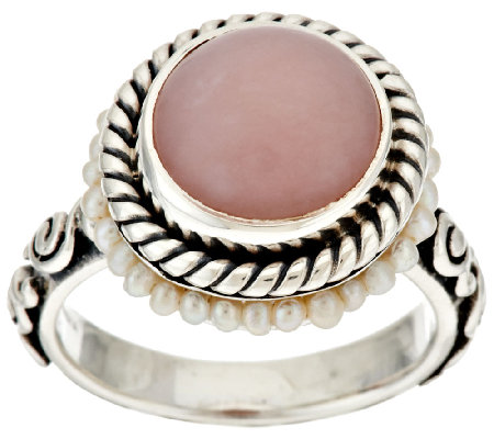 Artisan Crafted Sterling Pink Opal & Cultured Pearl Ring